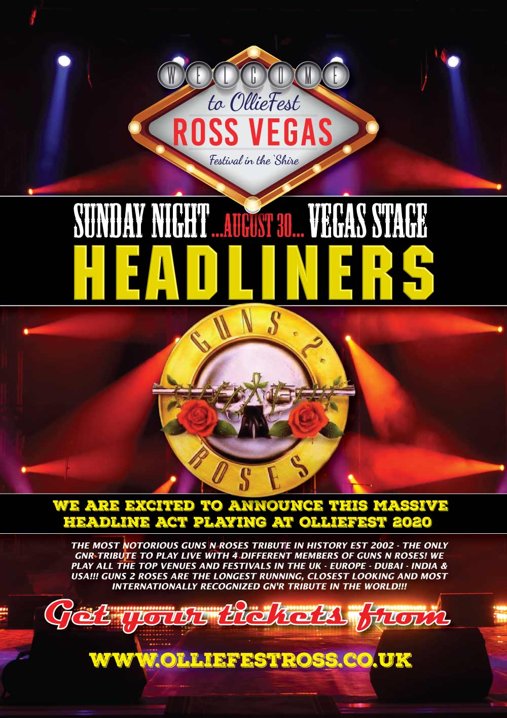 Guns 2 Roses - OllieFest Headliners, Sunday 30th August 2020