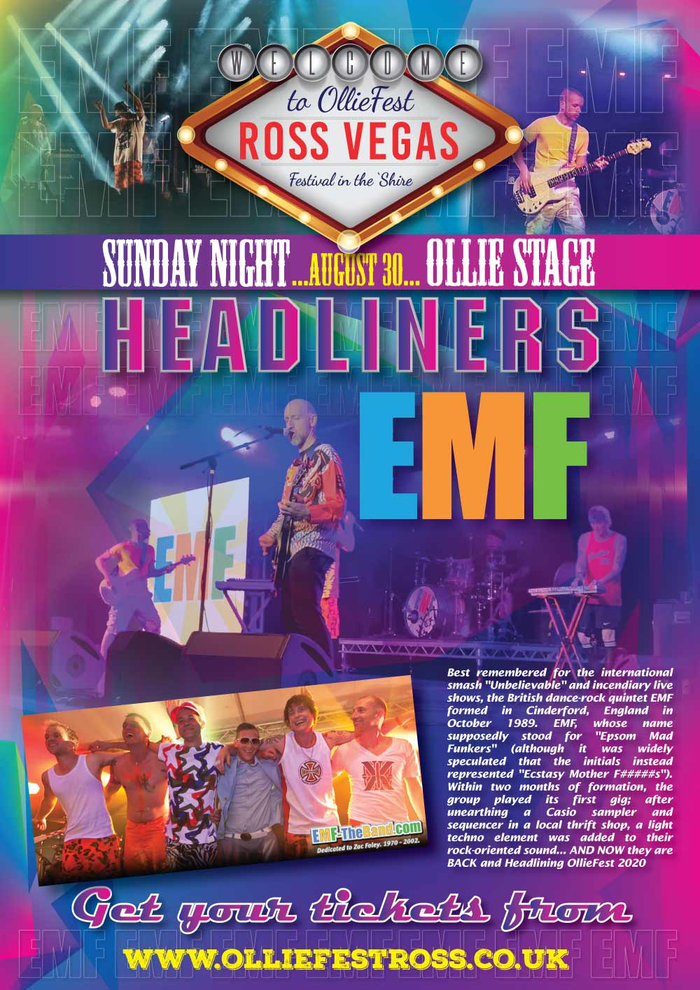 EMF Headlining the Ollie Stage and OllieFest on Sunday August 30th, 2020